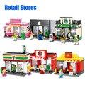Serie de la ciudad mini calle modelo de tienda tienda con mini toy figura camarero kfce mcdonald's building block compatible con lego hsanhe
