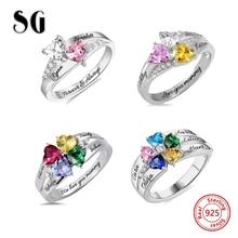 b309663bede3 SG personalizado 925 anillos de plata de ley anillo de piedra de corazón  personalizado con 2-5 nombres joyería para el día de la.