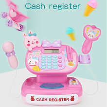Surwish Lovely Children Classic Supermarket Cash Register Pretend Play Scan Toys Simulation Shopping Trolley Cart Logical Think(China)
