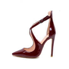 Sandals Wine Red Patent Leather Pumps Extreme High Heels Office Lady Cross Strap Pointed Toe Party Dress Shoes Women Stiletto