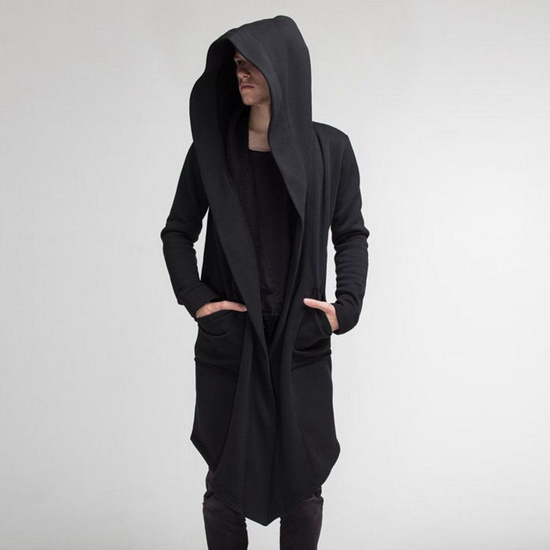 MJARTORIA Men Hooded Sweatshirts With Black Gown Hip Hop Mantle Hoodies Fashion Jacket Long Sleeves Cloak Man's Coats Outwear