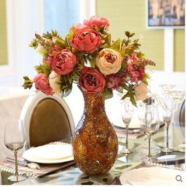 Décoration de vase en verre de pivoine de fleur d'émulation de style européen