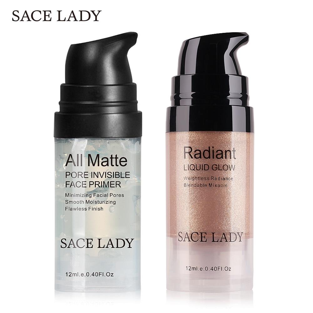 SACE LADY Face Makeup Set Highlighter Cream Matte Foundation Primer Illuminator Liquid Glow Make Up Kit Shimmer Base Cosmetic