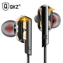 Qkz ak4 em fones de ouvido graves fones de ouvido alta fidelidade dj fone de metal estéreo com microfone para o telefone móvel mp3 mp4 xiaomi