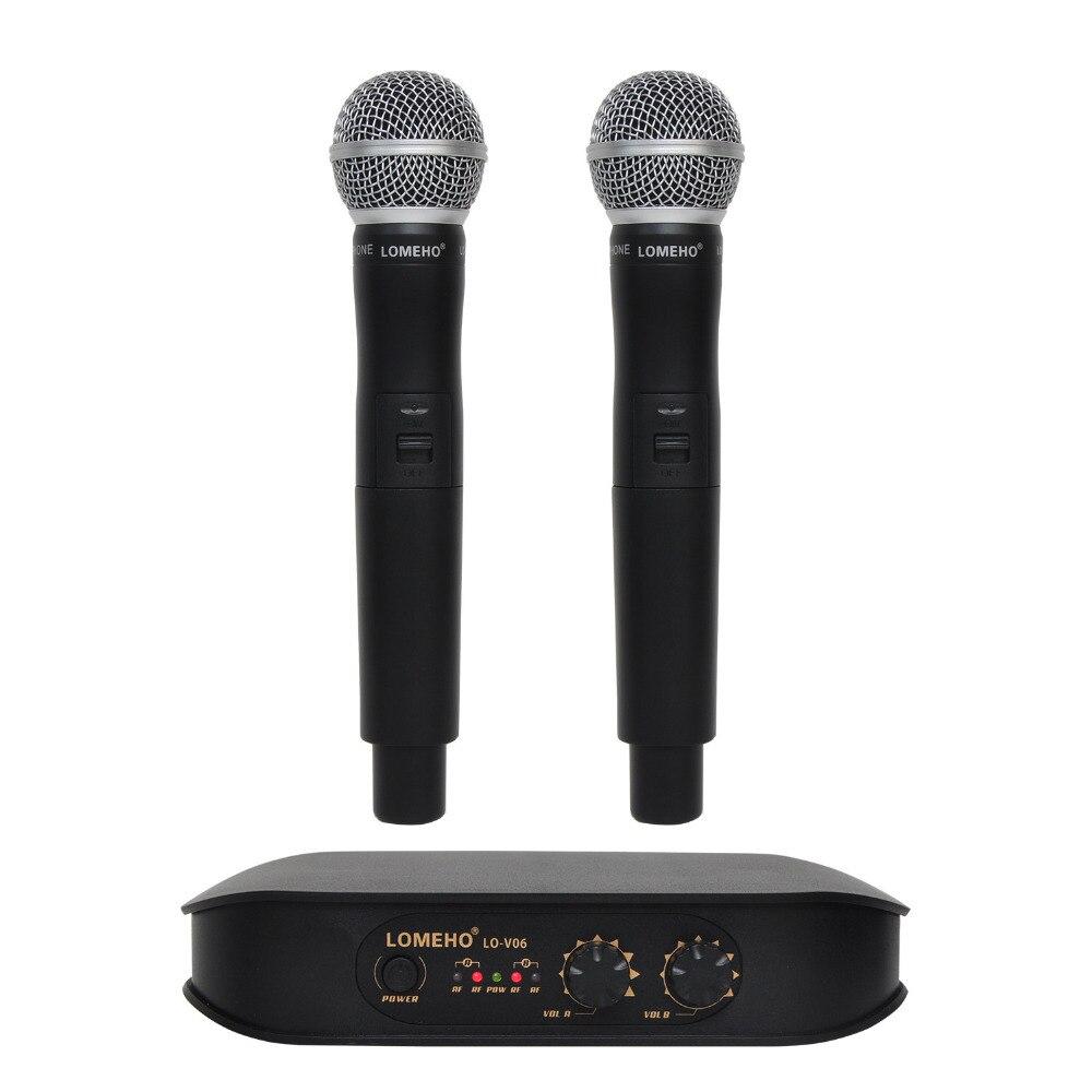 Lomeho LO V06 2 Way Handheld VHF Dynamic 2 channels Karaoke Party Wireless Microphone