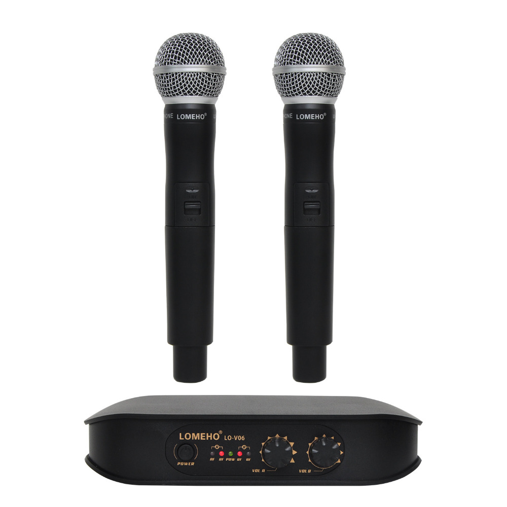 Lomeho LO V06 2 Way Handheld VHF Dynamic 2 channels Karaoke Party Wireless Microphone
