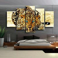 5 Pcs Unframed Abstract Blue Eyes Leopards HD Wall Picture Decorative Oil Painting On Canvas Home