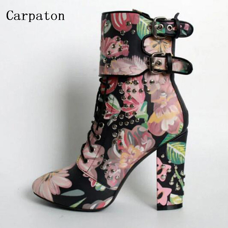 Women Winter Short Boots Beautiful Flower Print Gladiator High Heels Double Buckle Metal  Rivet Shoes Fashion Women Ankle Boots flower collection colorful embellished floral print buckle women pumps gladiator 3d flower shoes elegant ladies led shoes
