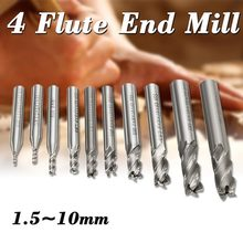 10PCS 2-10MM High Speed Steel HSS 4 Flute Straight Shank Bits Square Nose End Mill Cutter Tools(China)