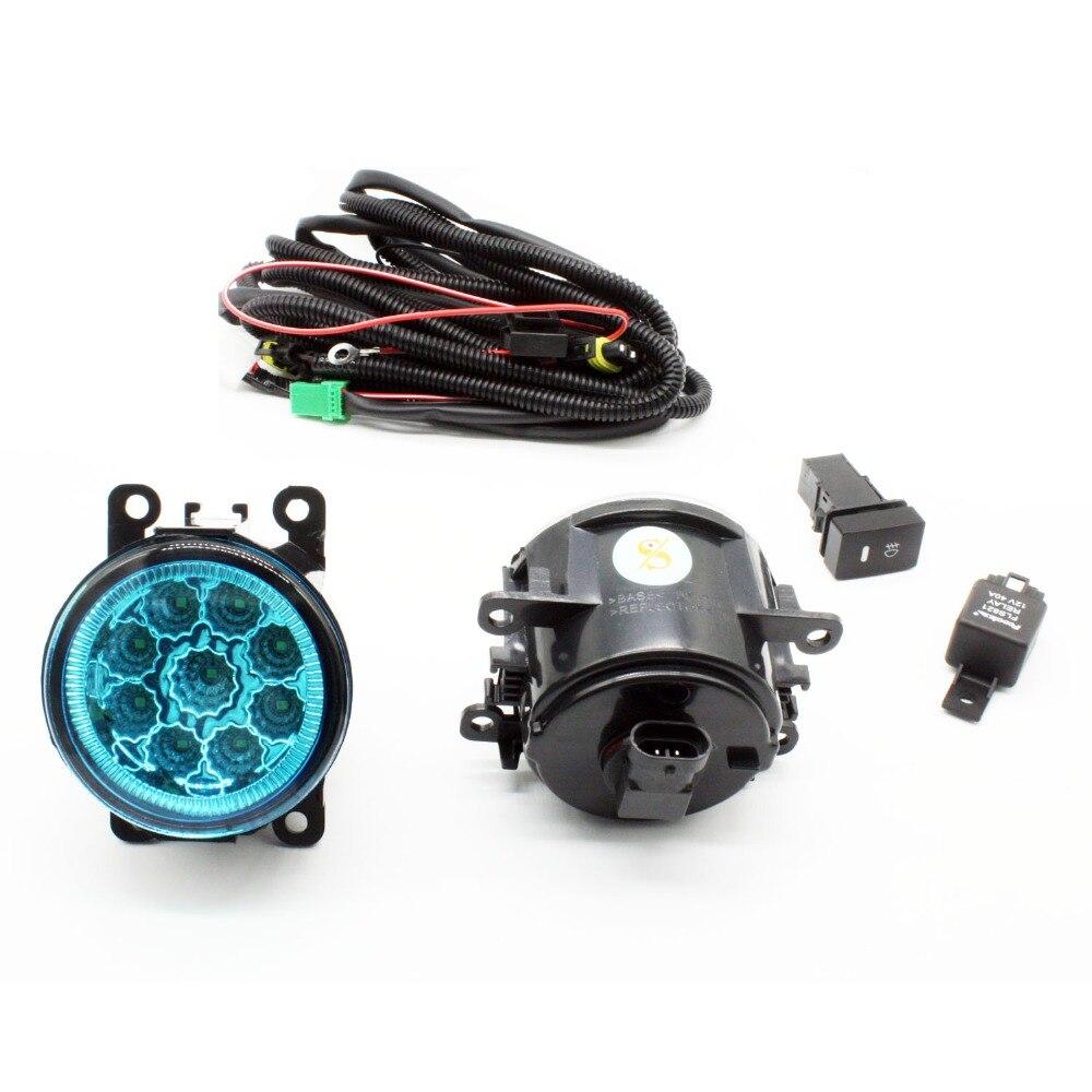H11 жгута проводов розетки провода разъем переключатель + 2 Противотуманные фары DRL переднего бампера светодиодный светильник синие линзы дл...