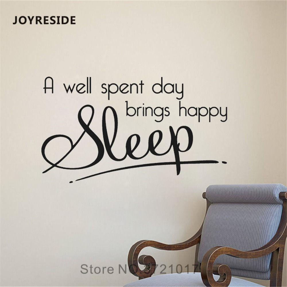 Joyreside A Well Spent Day Brings Hy Sleep Wall Quotes Sticker Decals Vinyl Living Room Interior Home Bedroom Art Mural A1317
