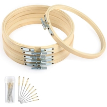 6 Inch Bamboo Round Embroidery Hoops Set Bamboo Circle Cross Stitch