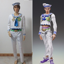 JoJo's Необычные Приключения Josuke Higashikata Косплей Костюм Хэллоуин униформа наряд Топ+ брюки+ шляпа на заказ