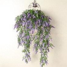 Искусственное Настоящее Сенсорное сосновое Лавандовое искусственное Настенное подвесное растение, украшение для дома, балкона, декоративная Цветочная корзина, аксессуары