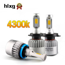 Hlxg 2Pcs 4300K 12V H4 Led Car Headlights 72W 8000LM/Set H7 H11 H1 Led Auto 9005 HB3 9006 HB4 Car Led Fog lamp Conversion Kit(China)