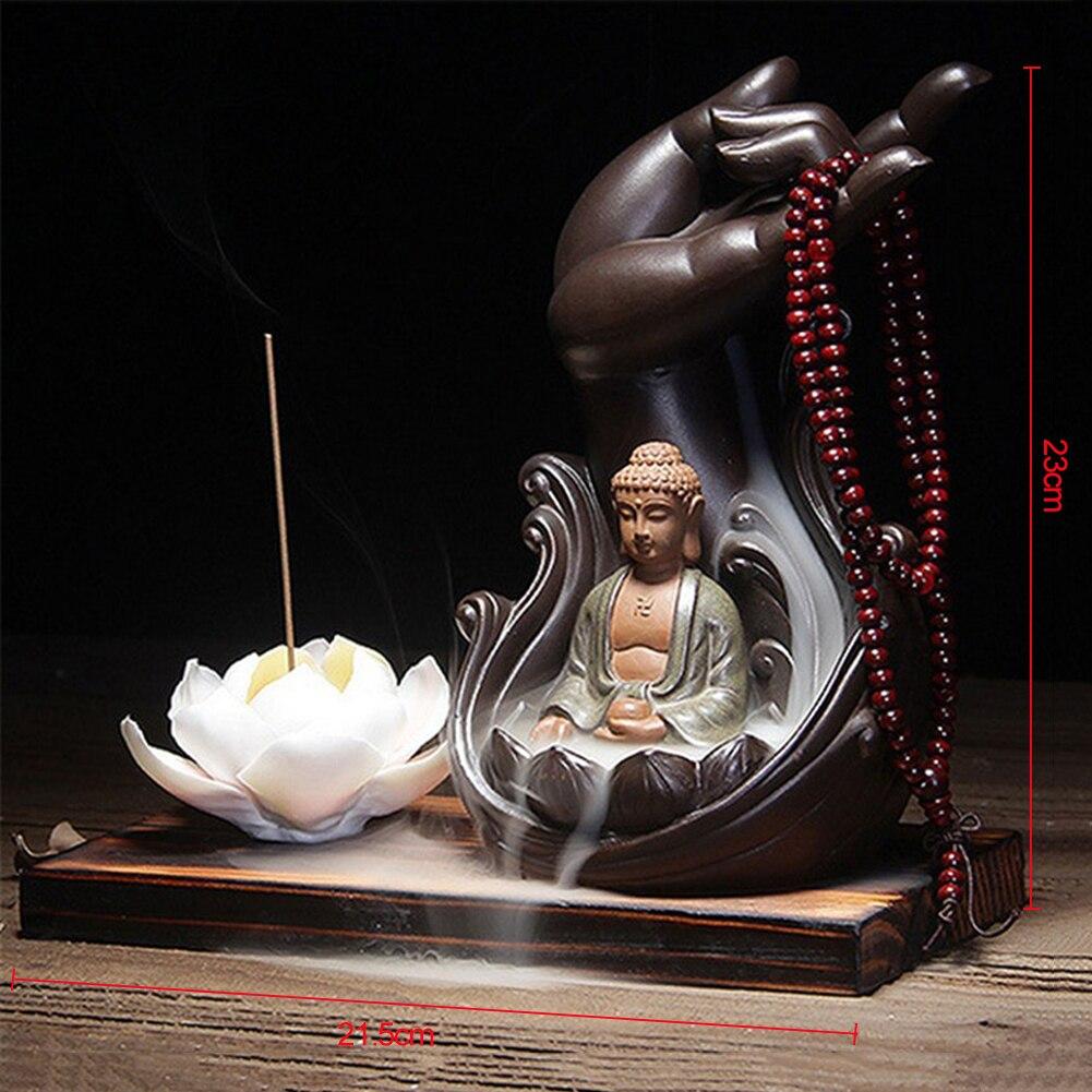 Giglio di acqua di Ceramica Buddha Titolare Bruciatore di Incenso Buddista Riflusso Incensiere Casa Ufficio Sala Da Tè Complementi Arredo Casa Coni di Incenso