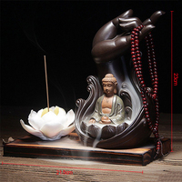 Water Lily Ceramic Buddha Incense Burner Holder Buddhist Backflow Censer Home Office Teahouse Home Decor Incense Cones