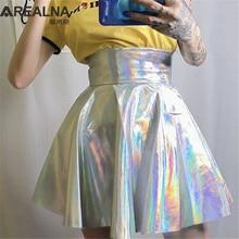 Серебристая голографическая Женская юбка, Осенние вечерние юбки с высокой талией для ночного клуба, короткая мини-юбка-пачка, голограмма, фольга, ткань, юбка для скейтера, Faldas