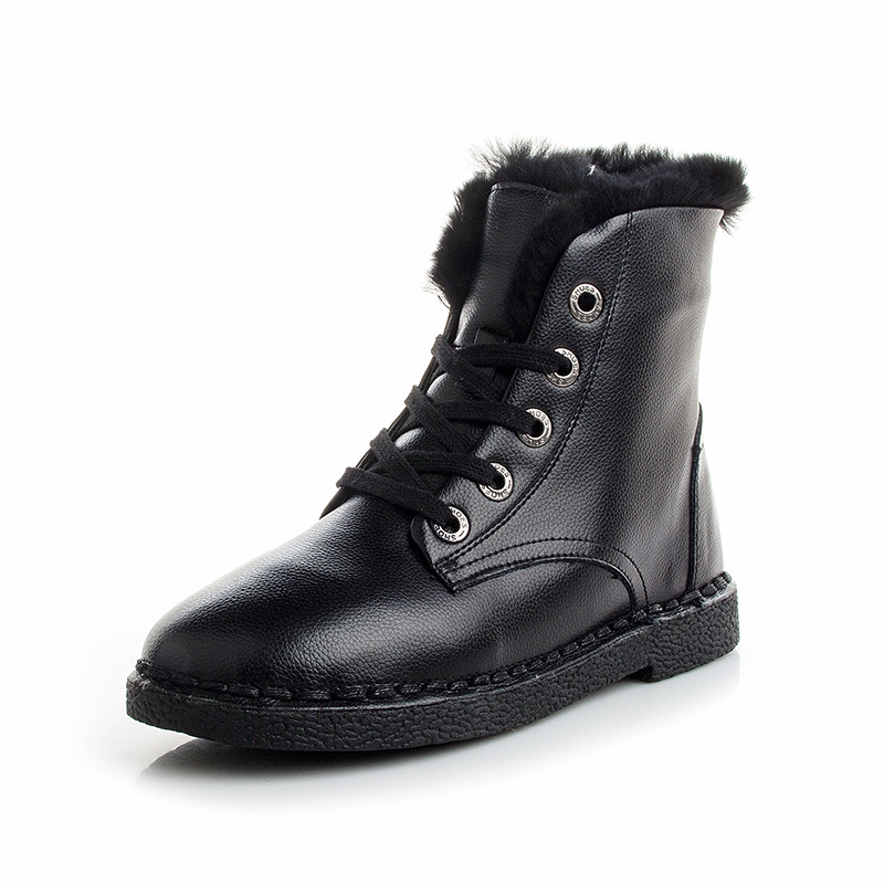 Autumn winter snowfield short boots women shoes flat heel students with velvet thick short tube full cover cowhide Martin boots short boots woman the fall of 2017 a new restoring ancient ways british wind thick boots bottom students with martin boots