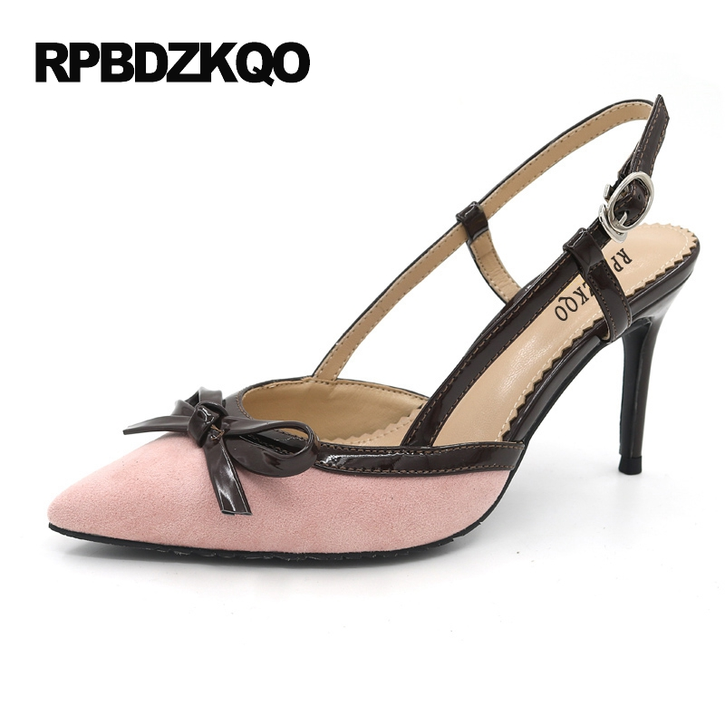 Wine Red High Heels Stiletto Gray Special Pumps 3 Inch Suede Big Size Pink Women Bow Shoes Nude Pointed Toe Slingback Sandals 33 elegant women s round toe pumps with stiletto and suede design