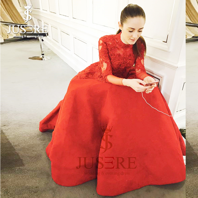 A line Box Pleat Illusion Back Embroidery Bodice High Neckline Elegant  Customize New Arrival Long Sleeves Red Prom Dress 2018 463941ffe817