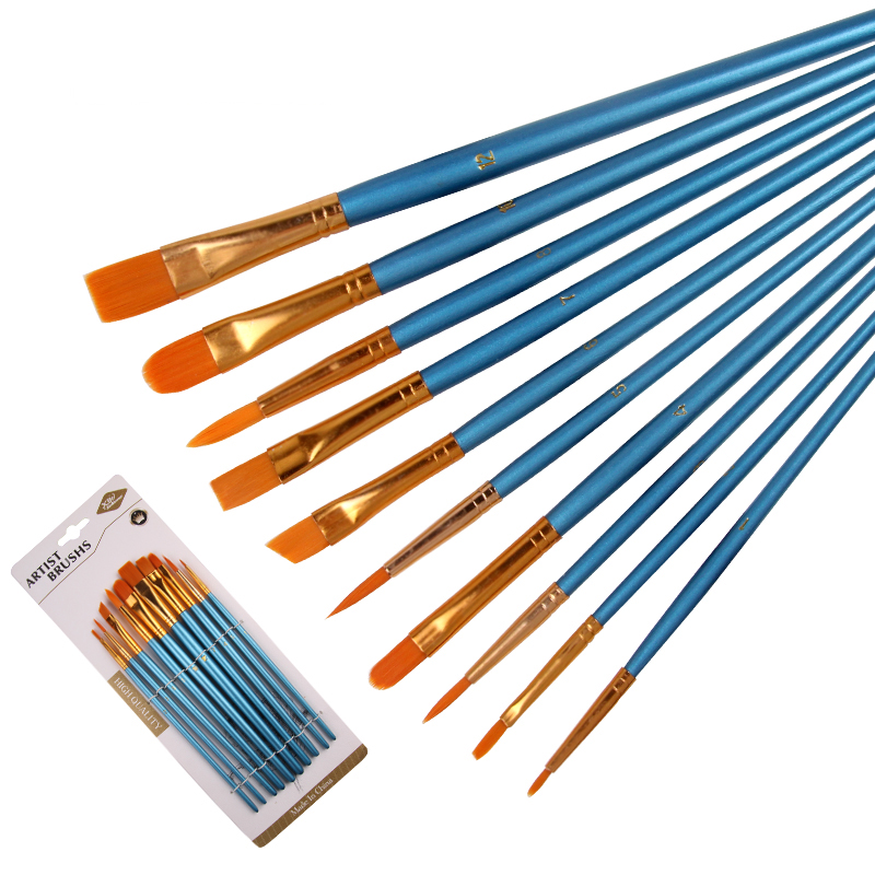 10 Pcs Pearlescent Blue Rod Nylon Hair Multifunctional Sketch Pen Watercolor Oil Paint Brush Set