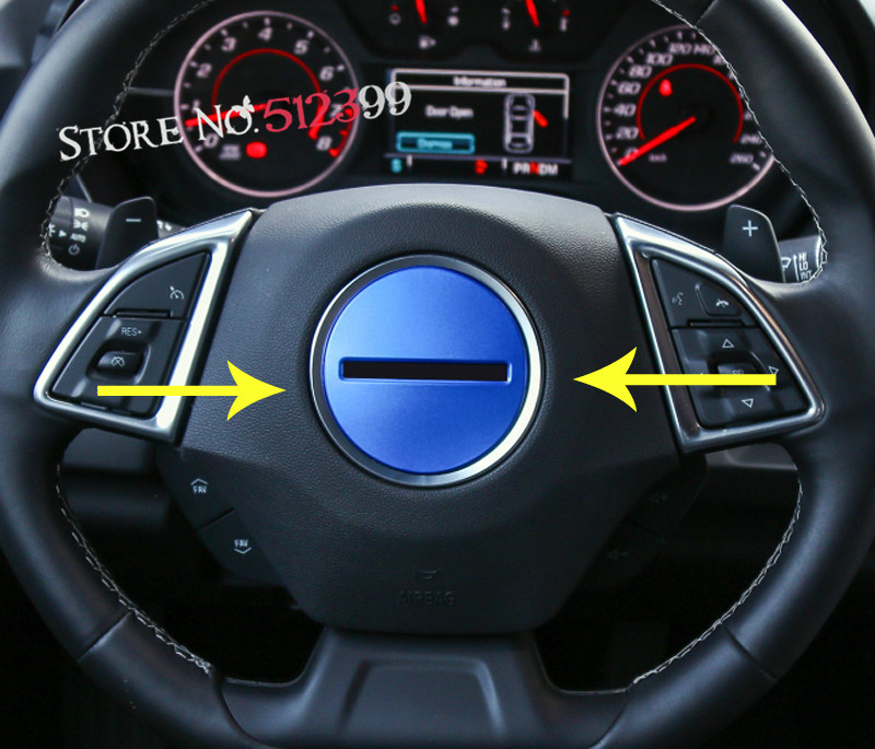 1PCS Aluminum alloy Inner Steering Wheel Ring Cover Trim For Chevrolet Camaro Sixth Gen. 2016 2017 Car Accessiores Styling aluminum alloy 25t steering servo horn