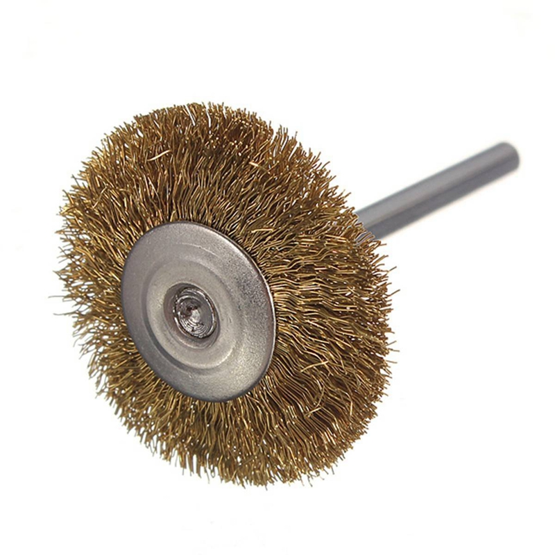 10 X Brass Wire Brush Round Brushes Disc Brush Pot Brush For Dremel 25MM