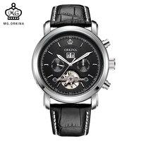 ORKINA Fashion Casual Relogio Masculino 2017 Tourbillon Mechanical Watch Leather Strap Male Wristwatch Date Display Clock Men