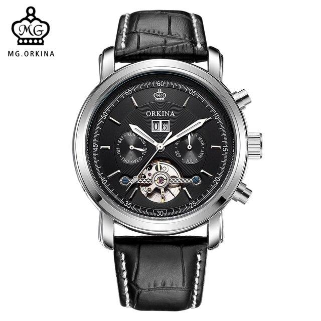 50882f255bb ORKINA Fashion Casual Relogio Masculino 2017 Tourbillon Mechanical Watch  Leather Strap Male Wristwatch Date Display Clock Men