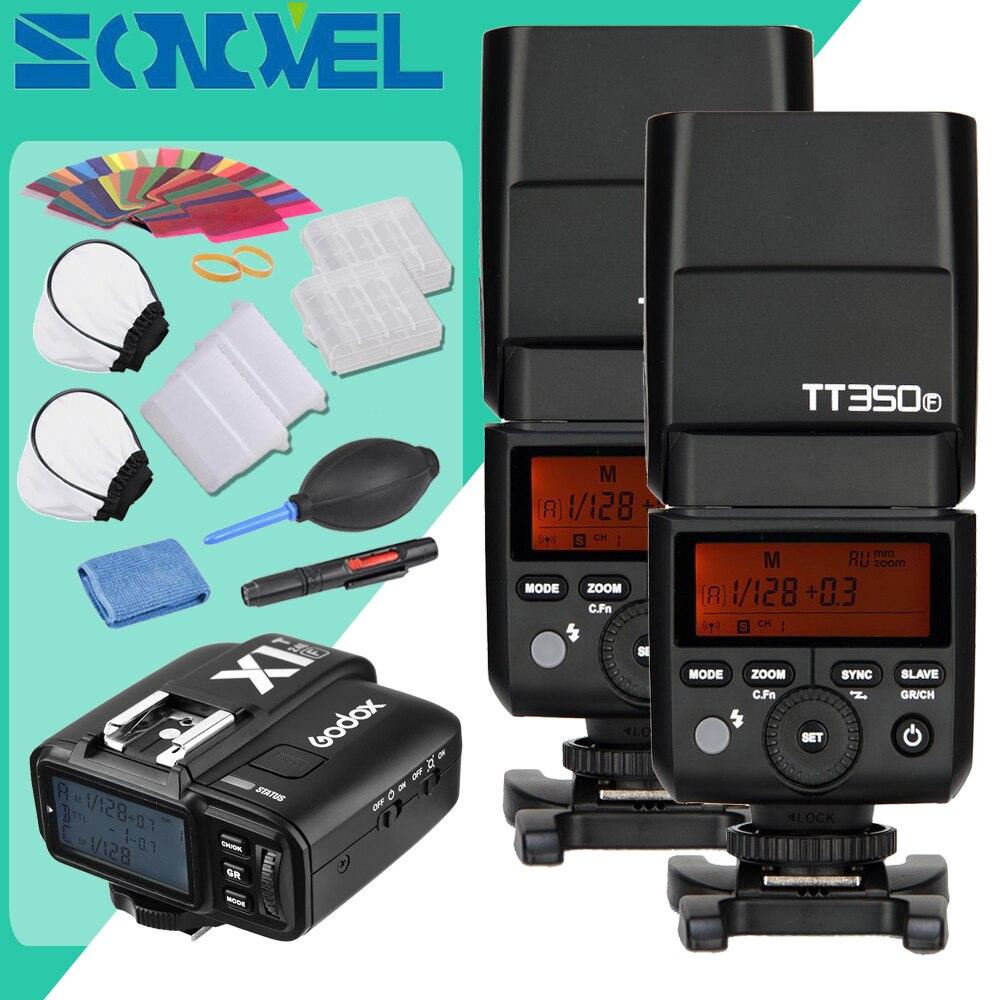 In Stock Godox 2x TT350F 2.4G HSS TTL GN36 Flash Speedlite+ X1T-F Trigger Transmitter Kit for Fuji X-Pro2/X-T20/X-T1/X-T2 x transbots boosticus kit bek 01tk for tt briticus japanese version in stock