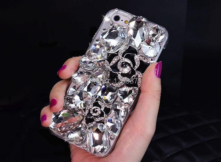 Luxury Camellia Bunga Kristal Berlian Kasus Untuk Iphone 7 6 S - Aksesori dan suku cadang ponsel - Foto 4