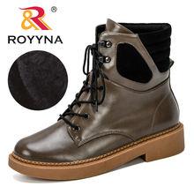 Женские ботильоны на шнурках royyna теплые зимние ботинки меху