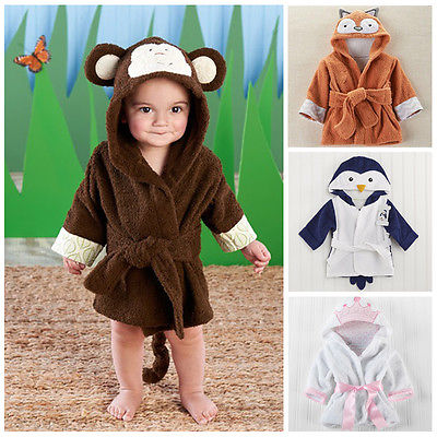 Boy Girl Animal Baby Bathrobe Baby Hooded Bath Towel Infant Bathing Honey Christmas Baby Robes children Robes 2016 Newest