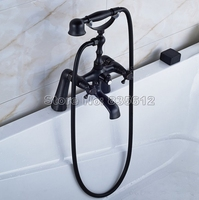 Black Oil Rubbed Bronze Deck Mounted Bathroom Tub Faucet Shower Set Cold and Hot Water Mixer Tap with Handheld Shower j063