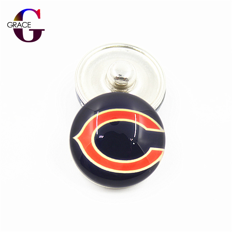 10pcs/lot Fashion Chicago Bears Football Sport Charms 18MM Ginger Glass Snap Buttons Fit DIY Snaps Bracelet For Women Jewelry