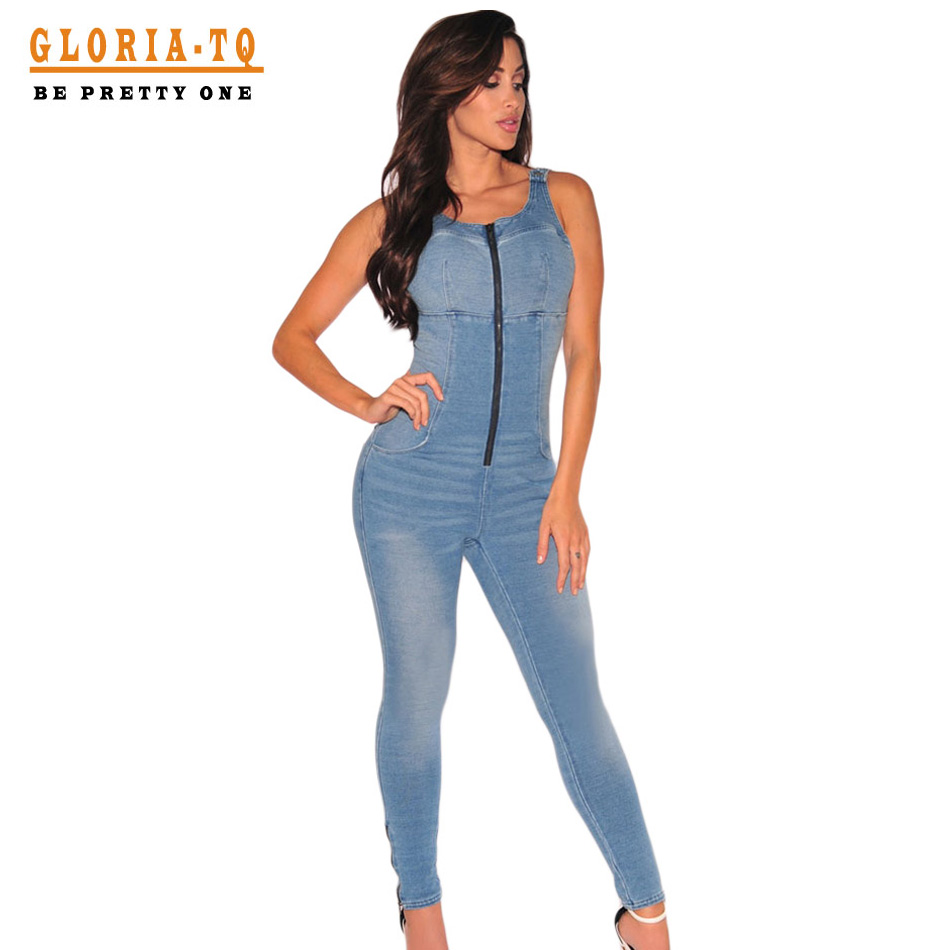 Beautiful Women Jumpsuit Fashion Sexy Strap Front Pocket Jeans Denim Jumpsuit