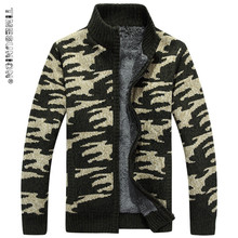 TIMESUNION Brand Clothing Cardigan Men Thicken Fleece Winter Sweater Men Pattern Print Coat Military Army 3XL