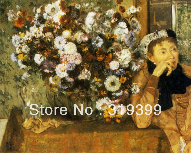 100% handmade Oil Painting Reproduction on Linen Canvas,A Woman Seated beside a Vase of Flowers by edgar degas,oil paintings100% handmade Oil Painting Reproduction on Linen Canvas,A Woman Seated beside a Vase of Flowers by edgar degas,oil paintings