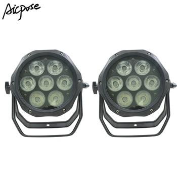 Rgbwa UV 6in1 7X18 W Aluminium Par Can LED DMX Beam Efek Par 64 Mini DJ Lampu PAR dengan Powercon Di Dalam dan Di Luar Panggung Lighiting