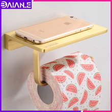 Toilet Paper Holder with Shelf Creative Brass Paper Towel Holders Wall Mounted Bathroom Toilet Tissue Roll Paper Holder Phone xueqin gold bathroom hotel paper holder retro copper wall mounted roll tissue storage shelf towels phone book holders