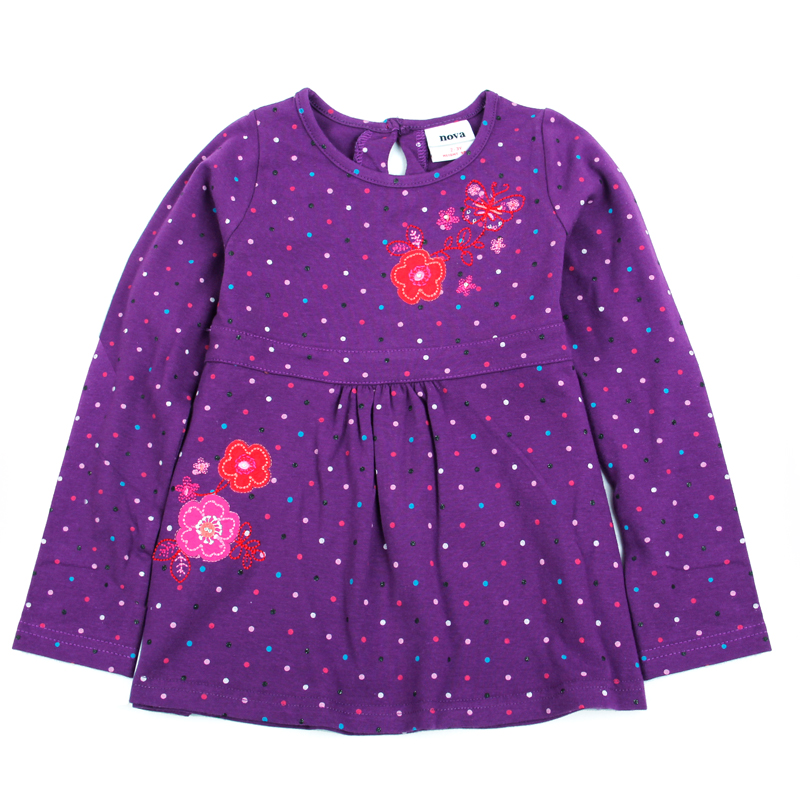 2016 polka dot dresses for girl retail nova kids children clothes long sleeve embroidery floral girl dress baby girl clothing