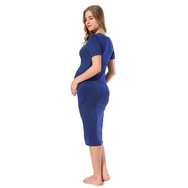 A pack of 3 Pregnancy side Ruched dress Mama casual short sleeved wrap dress summer maternity T shirt dress in Dresses from Mother Kids