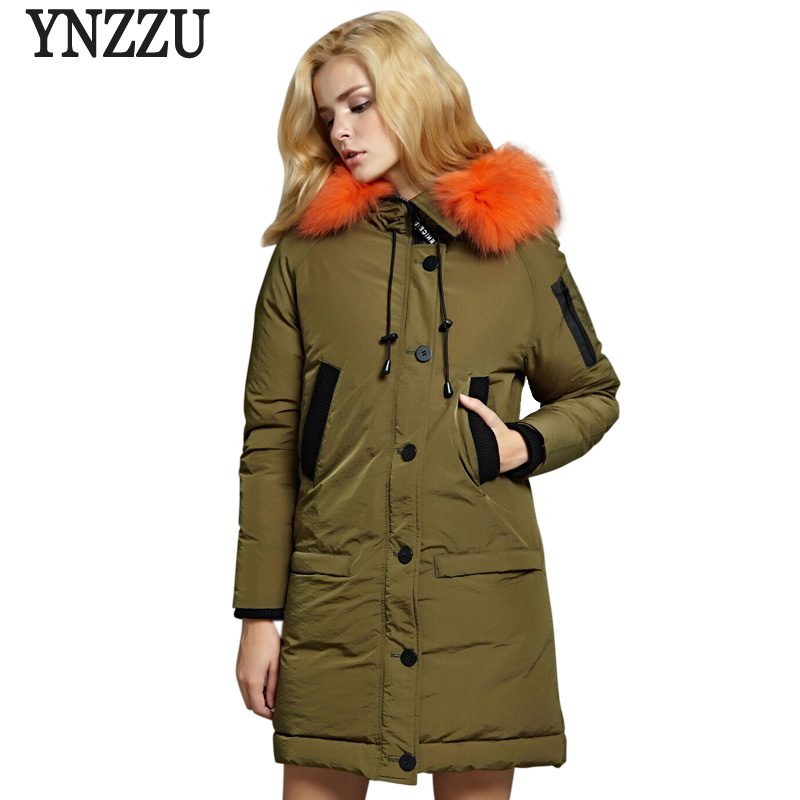 Brand 2018 New Winter Women's   Down   Jacket Casual Long White Goose   Down     Coat   with Real Fur Collar Hooded Warm Loose Outwear AO731