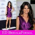 Selena Gomez Vestido em Never Say Never Premier Celebridade Do Tapete Vermelho vestido de Cocktail Vestido de Festa de Cetim Roxo Curto do Baile de finalistas do Regresso A Casa Do Vestido
