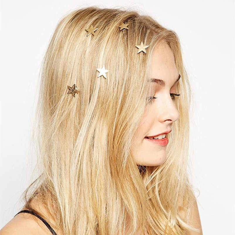 New 2018 latest gold stars coil spring clips hairpin Hair Jewelry for woman girl head accessories Wedding wholesale