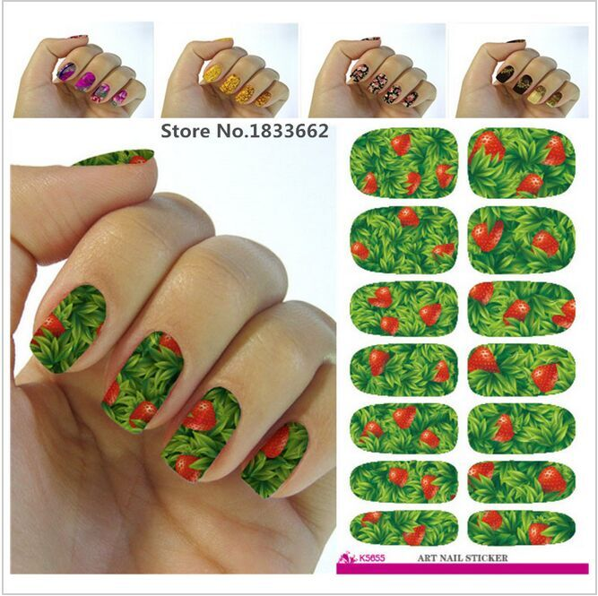 Design New 3d Green Leaf Red Strawberry Flower Nail Art Stickers