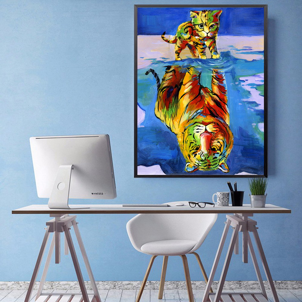 HDARTISAN Wall Art Picture Canvas Print oil Painting Animal Kitten Tiger Picture For Living Room Home Decor No Frame
