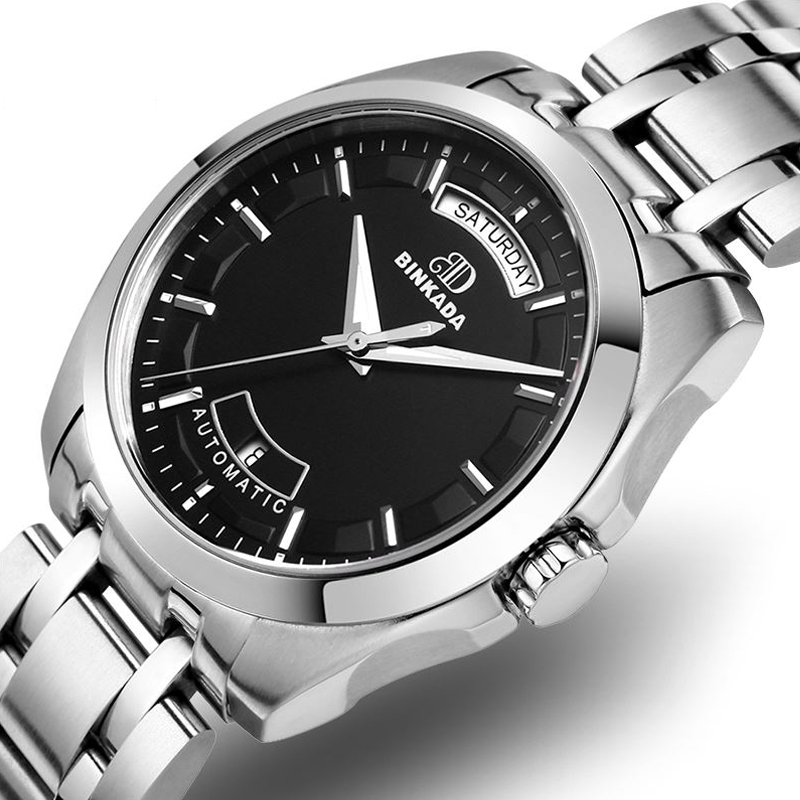 Men automatic mechanical watches waterproof Fine steel business - Men's Watches