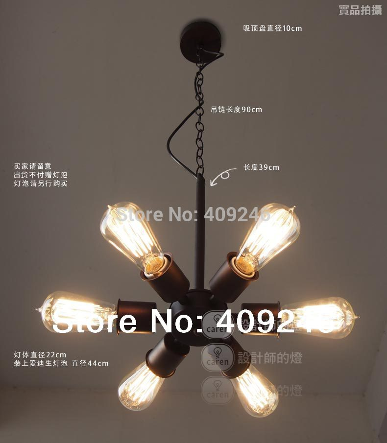 Loft Edison Industry Vintage Pendant Ceiling Lamp Metal Wheels 6 Lamp Droplight For Cafe ...